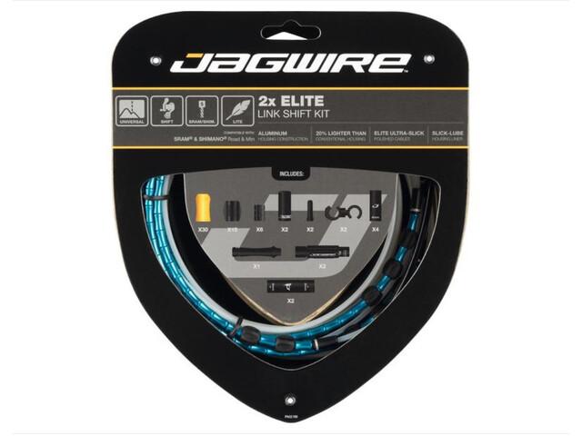 Jagwire 2X Elite Link Set de câble de dérailleur, blue